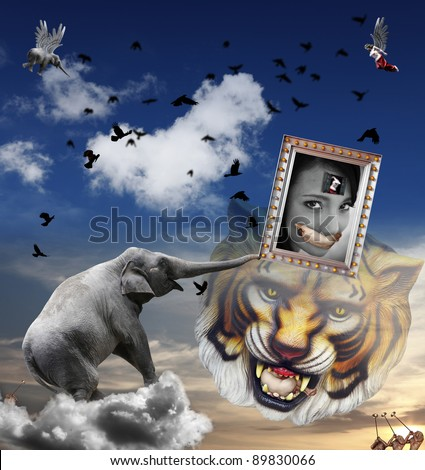 An original digital artwork of a dreamy surreal landscape with animals and mythical creatures, titled An Asian Woman dream of Emancipation.