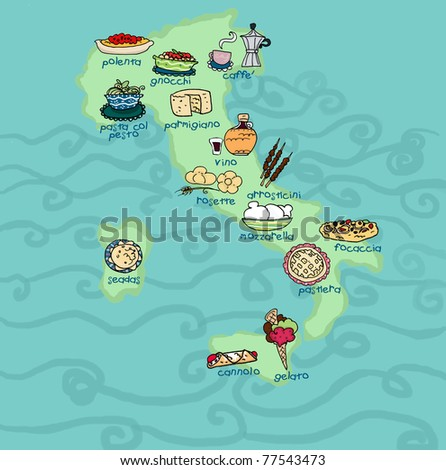 An original food map of Italy.Digital illustration