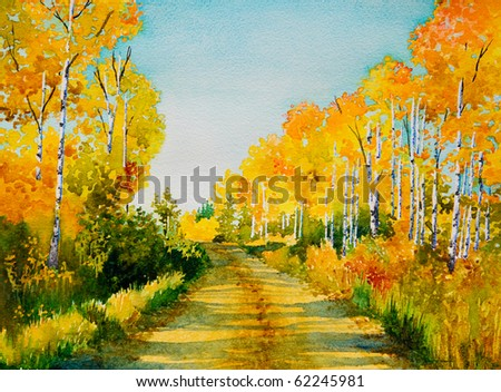 An original watercolor painting inspired by a beautiful,  Autumn colored, back road in Northern Saskatchewan.