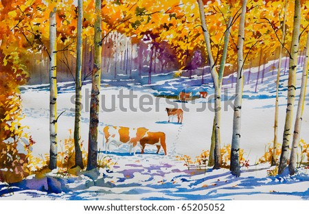 An original watercolor painting, of a cattle pasture with an early blanket of snow, in Autumn.  Makes a beautiful art print for walls.