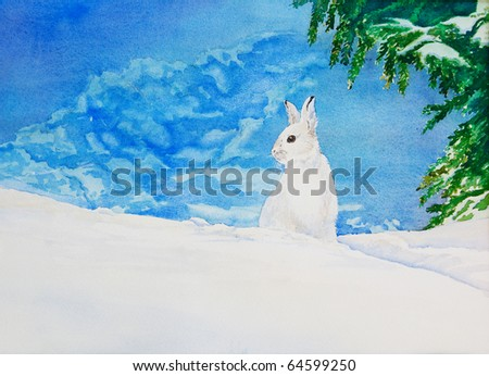 An original watercolor painting of a white rabbit in a snowy, winter landscape.