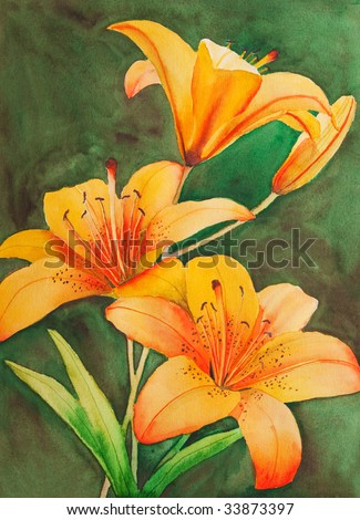 An original, watercolor painting of Saskatchewan's provincial flower, the tiger lily.
