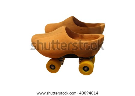 An original wooden Dutch clog shoes - stock photo