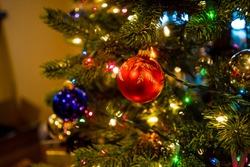 An ornament on a Christmas tree