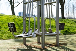 An outdoor empty public sport equipment in a park in Tours city France