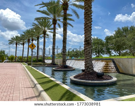 An outdoor view of a water feature at a mall with a line of palm trees beside it. Zdjęcia stock ©