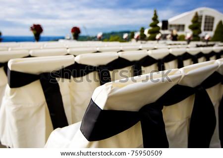 stock photo An outdoor wedding setup