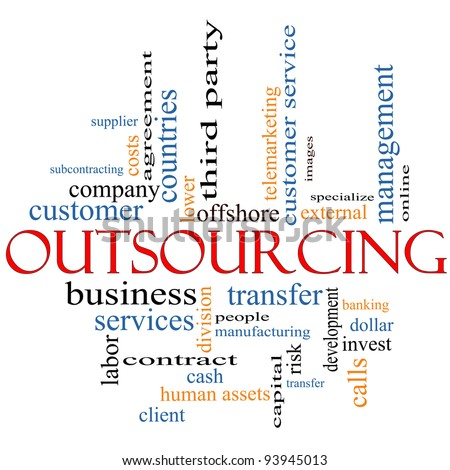 An Outsourcing word cloud concept with terms such as offshore, manufacturing, people, customer service and more.