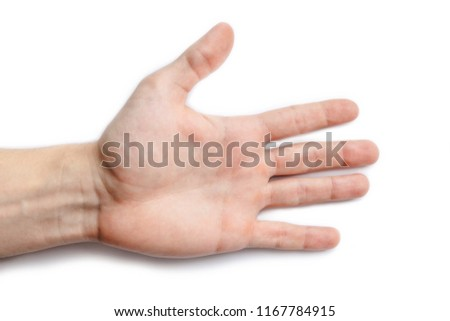 An outstretched hand with folded fingers. Gesture on a white background. The gesture shows the direction of movement. Open hand isolated. #1167784915