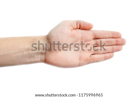 An outstretched hand with folded fingers. Gesture on a white background. The gesture shows the direction of movement. Open hand isolated. #1175996965