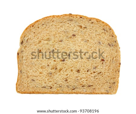 An overhead view of a slice of flaxseed bread.