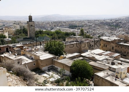 An overview of medina (old town) of an imperial city Fes, population 1 million, Morocco