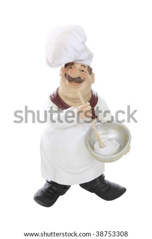 An overweight Italian chef isolated over white background
