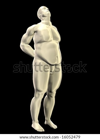 An overweight, obese, fat male figure in a pose that suggests back problems or a morning stretch. This image is easily separated from its background for compositing.