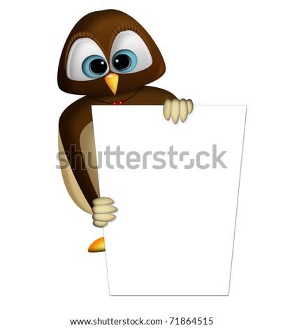 an owl holding a billboard