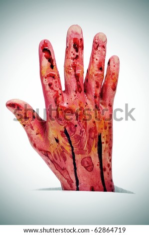 an scary bloody hand for Halloween holiday