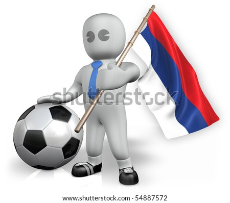 An Serbia football fan with a flag and a ball