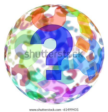 an sphere with question marks of different colors on a white background