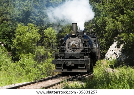 an 1880 steam engine in use as a tourist attraction by the Black Hills Central Railroad in South Dakota. This engine was manufactured by the Baldwin Locomotive Works.