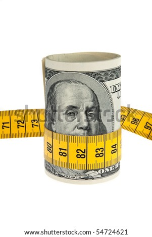 An symbol image economy package with dollar bill and tape measure