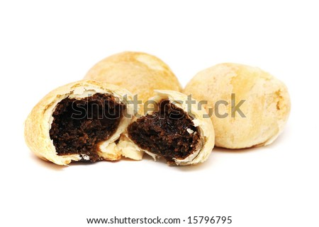 An teared red bean paste pastry isolated with others on white background.