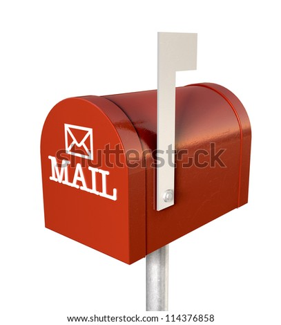 An top view of a red old school retro tin mailbox with a white flag pointing upward showing that mail is present and an embossed mail envelope sign on an isolated background