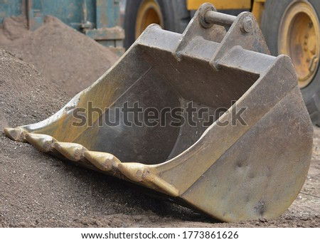 An unattached Digger Bucket for a machine. Stockfoto ©