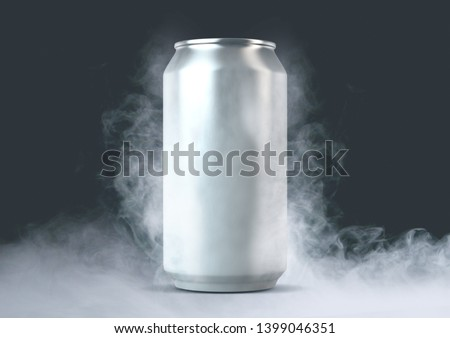An unbranded freezing cold aluminum tin can with cold vapor an isolated dark studio backgound - 3D render
