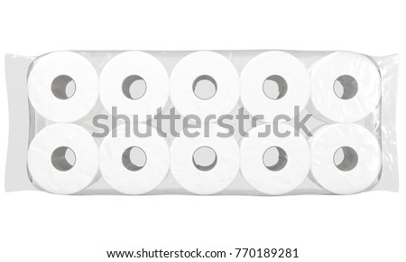 An unbranded plastic shrink wrap packaging holding a pile of white toilet paper rolls - 3D render