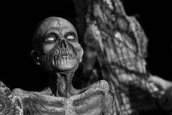 An undead monster in old style B&W, coffin in the background.