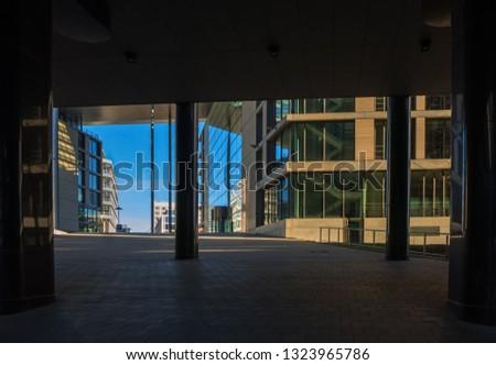 An underpass in a modern business district #1323965786