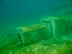 An underwater electric cable on the island Hvar, Croatia