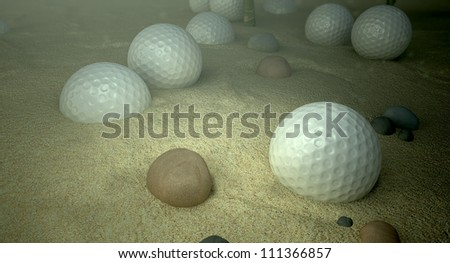 An underwater scene of a golf water hazard with a few golf balls laying on the sand bottom
