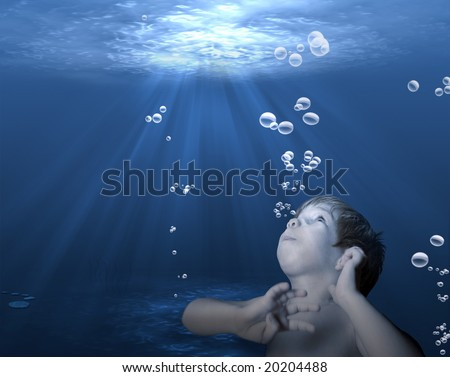 An underwater scene with sun rays shining on a boy trying to reach the surface