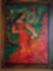 An unfocused abstract background of an abstract painting of a princess attached to a wall, Jakarta, Indonesia July 4, 2021.