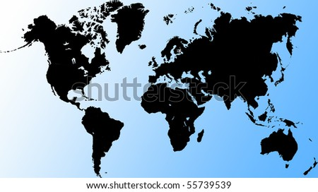 an unfolded map of the world. world map illustration. black world map