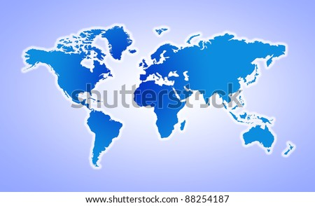 An unfolded World map of light blue color
