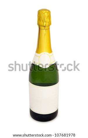 An unopened bottle of champagne with a blank label stands on a white background.