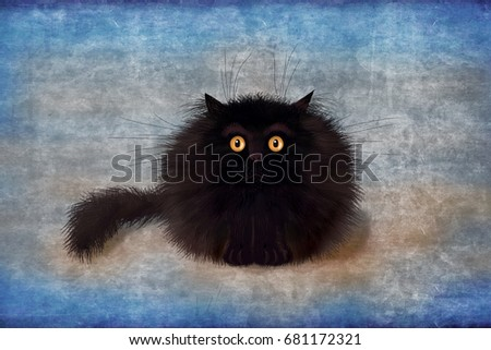 An unusual cute sorry card with a fluffy mad black kitten sitting on the beautiful gradient blue background.