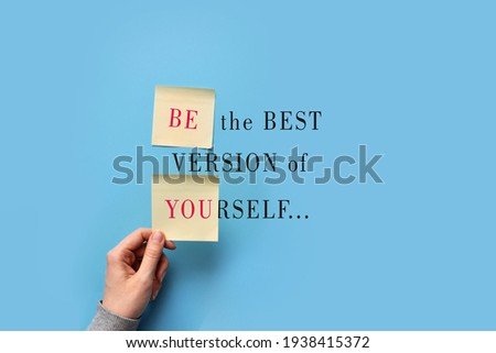 An unusual inscription in the form of a postcard: be the best version of yourself Сток-фото ©