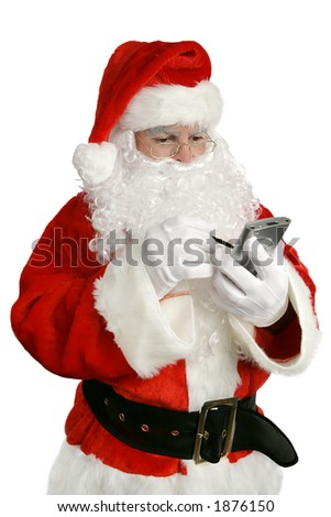 An updated Santa Claus checking his list on PDA.  Isolated on white. - stock photo