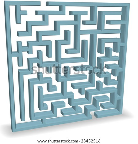 An upright 3D blue Maze Puzzle with entrance and exit at the top and bottom. - stock photo