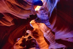 An upward view of a sandstone formation in the Slot Canyons in Page, Arizona.