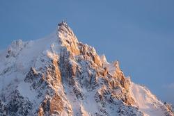 An upwards image of Aiguille du Midi