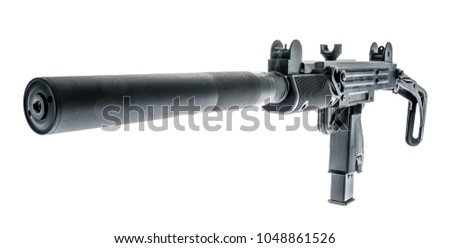 An UZI with a silencer and it's stock extended on an isolated background. #1048861526