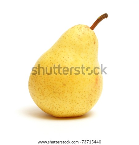 An 8x8 format shot of a ripe pear that is isolated on white.