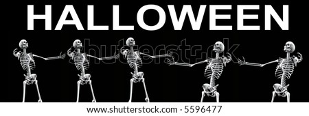 An x ray image of skeletons. A suitable medical or Halloween based image.