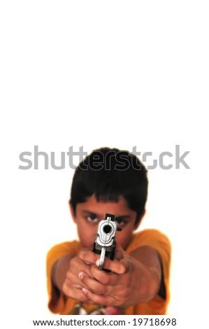 an young kid holding gun symbolizing gun culture prevalent at schools