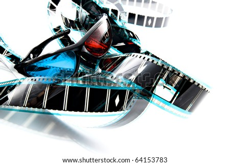 Anachrome plastic 3D imaging glasses on film strip, 3-d experience