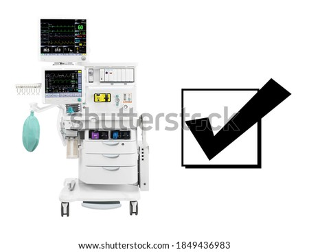 Anaesthesia Machine Isolated on White. Anaesthetic Workstation with the Ventilation Breathing. Anesthesia Delivery System with Gas Scavenging Systems. Medical Equipment. Patient Monitoring System Foto stock ©